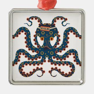 Fristenkrake Quadratisches Silberfarbenes Ornament