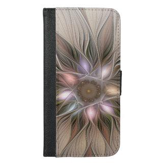 Frohe Blumen-abstraktes beige BrownblumenFraktal iPhone 6/6s Plus Geldbeutel Hülle