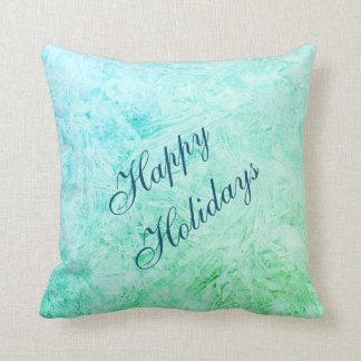 Frohe Feiertage blauer und grüner Frostentwurf Zierkissen