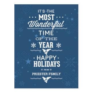 Frohe Feiertage blauer und weißer Text-Entwurf Postkarte