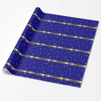 Frohe Feiertage blaues GoldPackpapier Geschenkpapier