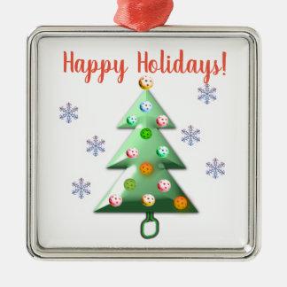 Frohe Feiertage die Pickleball Weise! Silbernes Ornament