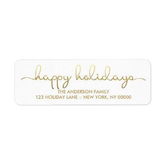 Frohe Feiertage einfache Goldhand beschrifteter