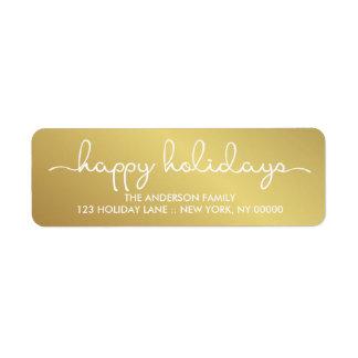 Frohe Feiertage elegante Goldhand beschrifteter Rücksende Aufkleber