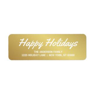 Frohe Feiertage eleganter Rückversand-Adressaufkleber