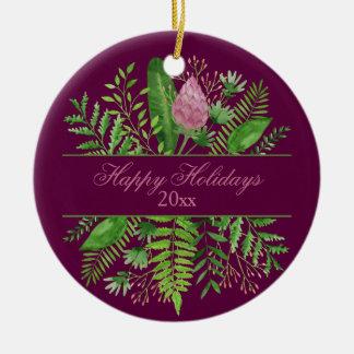 Frohe Feiertage Garten-Holz botanisch Rundes Keramik Ornament