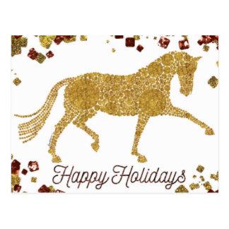 Frohe Feiertage Golddressage-Pferdepostkarte Postkarte