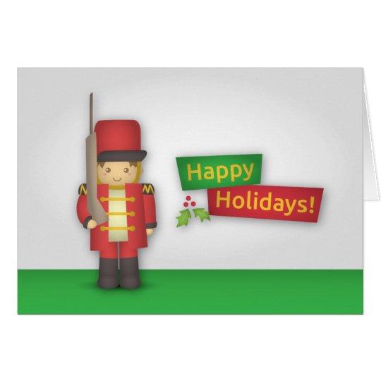 Frohe Feiertage mit Weihnachtsnussknacker-Soldaten Grußkarte