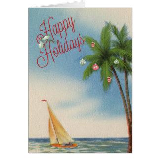 Frohe Feiertage Palme und Segelboot Karte