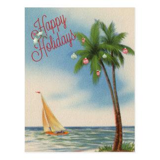 Frohe Feiertage Palme und Segelboot Postkarte