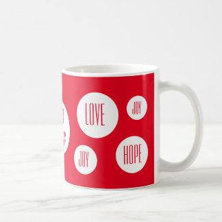 Frohe Feiertage positive Wörter Kaffeetasse