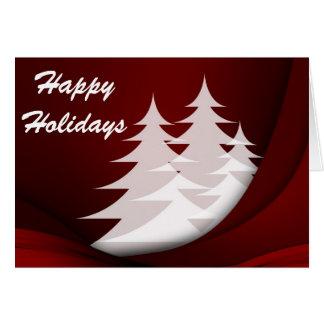 Frohe Feiertage rot mit weißen Bäumen Karte