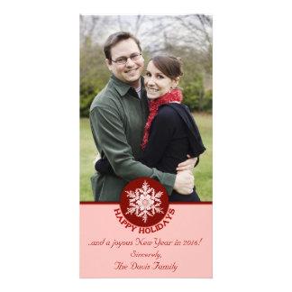Frohe Feiertage rote Papierschneeflocke 4x8 Karte