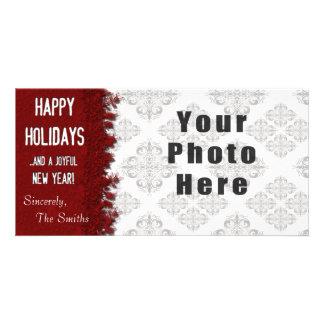 Frohe Feiertage rote Schneeflocke Karte