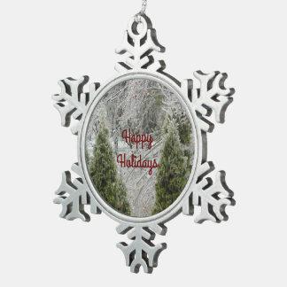 Frohe Feiertage ruhige eisige Niederlassungen Schneeflocken Zinn-Ornament