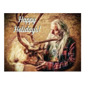 Frohe Feiertage Sankt und Ren durch Shawna Mac Postkarte