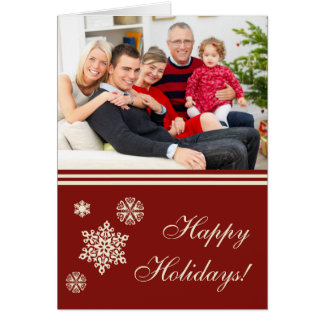 Frohe Feiertage Schneeflocke-rote Weihnachtskarte Karte