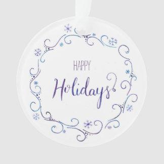 Frohe Feiertage Schneeflocke-Verzierung Ornament
