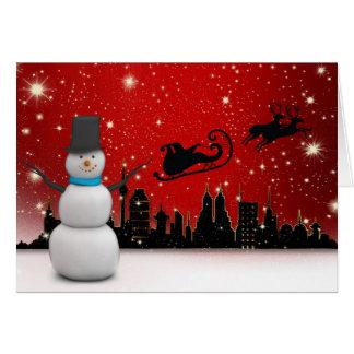 Frohe Feiertage Schneemann Karte