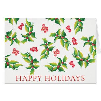 Frohe Feiertage Stechpalmen-Beeren-Weihnachtskarte Karte