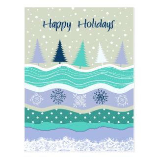 Frohe Feiertage Tannenbaum-Schneeflocken Postkarte