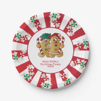 Frohe Feiertage Text der Lebkuchen-Paar-  DIY Pappteller