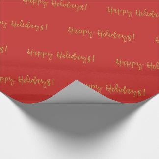 Frohe Feiertage Weihnachtsgoldfolie und -ROT Geschenkpapier