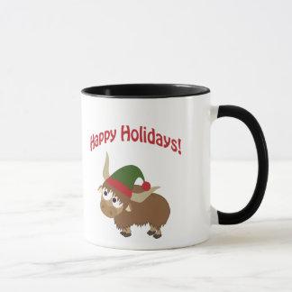 Frohe Feiertage! Yak-Weihnachtself Tasse