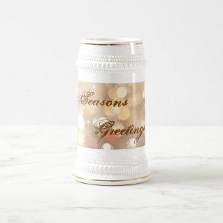 Frohe Festtage Schneeflocke u. Licht-Tasse Bierglas
