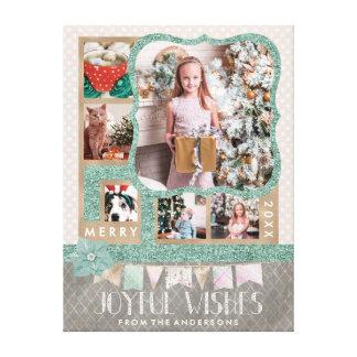 Frohe Foto-Collage des Wunsch-Weihnachten6 Leinwanddruck