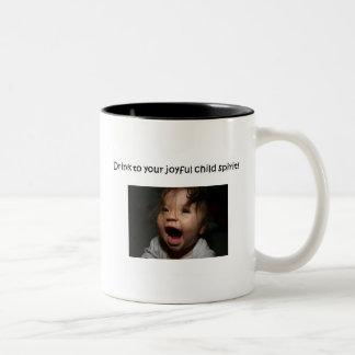 frohe Kindergeist-Tasse Zweifarbige Tasse