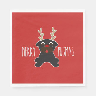 Frohe Pugmas schwarze Mops-Ren-Weihnachten Servietten