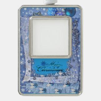 Frohe Snowy-Weihnachten Rahmen-Ornament Silber