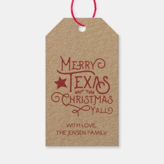 Frohe Texas-Weihnachten Sie Geschenk-Umbauten Geschenkanhänger