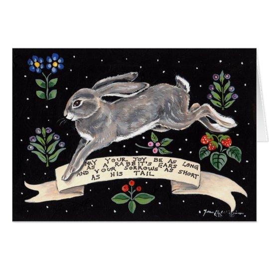 Frohe viel Glück-Kaninchen-Raum-Gruß-Karte Karte