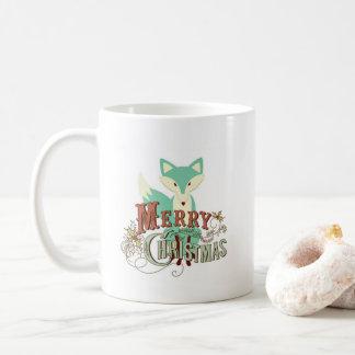 Frohe Weihnacht-aquamariner Grünfox-Kaffee Tasse
