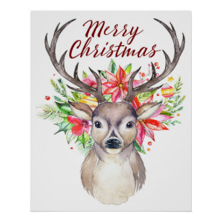 Frohe Weihnacht-Aquarell-Blumenrotwild - Dollar Poster