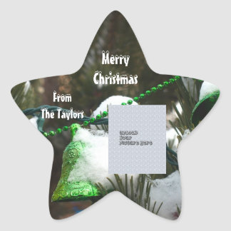 Frohe Weihnacht-Aufkleber-Foto-Schablone Stern-Aufkleber
