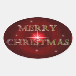 Frohe Weihnacht-Aufkleber Ovaler Aufkleber