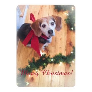 Frohe Weihnacht-Beagle-flache Karte