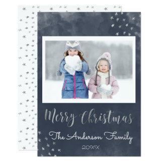 Frohe Weihnacht-blaue und silberne Folie hat Foto Karte