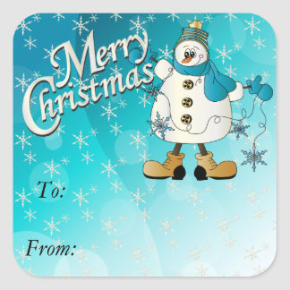 Frohe Weihnacht-blauer Schneeflocke-Schneemann Quadratischer Aufkleber