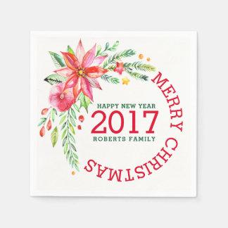 Frohe Weihnacht-Blumenstrauß-Schablone Papierserviette