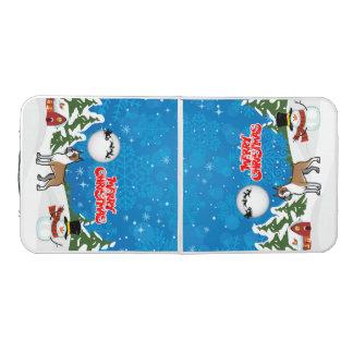 Frohe Weihnacht-Boxer mit einem Schneemann und Beer Pong Tisch