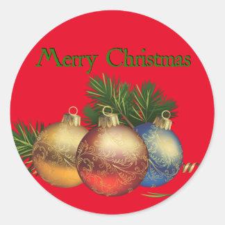 Frohe Weihnacht-Dekor-runder Aufkleber, glatt Runder Aufkleber