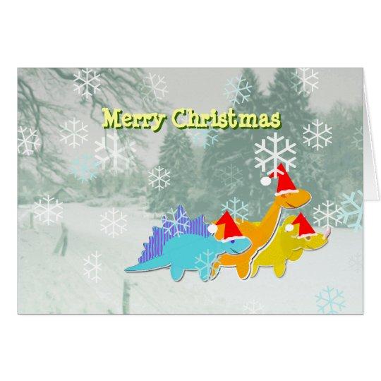 Frohe Weihnacht-Dinosaurier-Karte Grußkarte