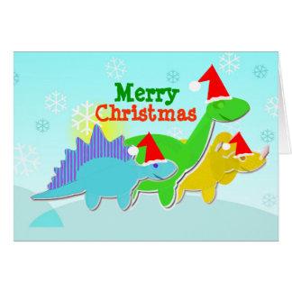 Frohe Weihnacht-Dinosaurier-Karte mit Karte