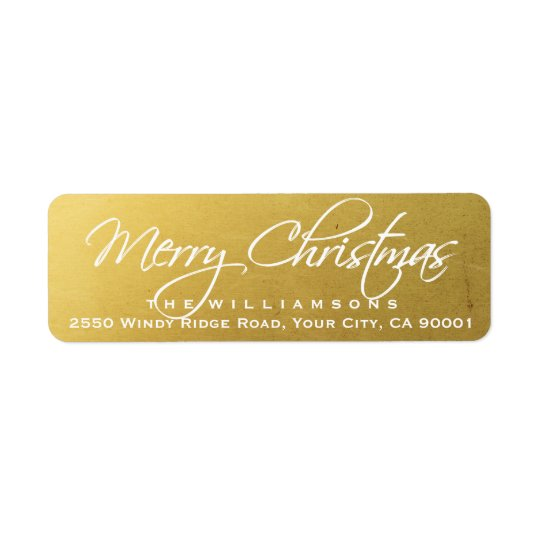 Frohe Weihnacht-elegantes Kalligraphie-Skript-Gold Rücksendeetiketten