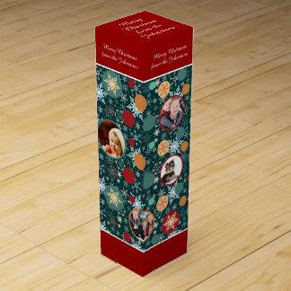 Frohe Weihnacht-Familien-Foto-Schneeflocke Wein-Geschenkverpackung