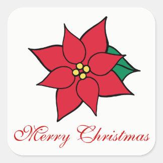 Frohe Weihnacht-Feiertags-rote Quadratischer Aufkleber